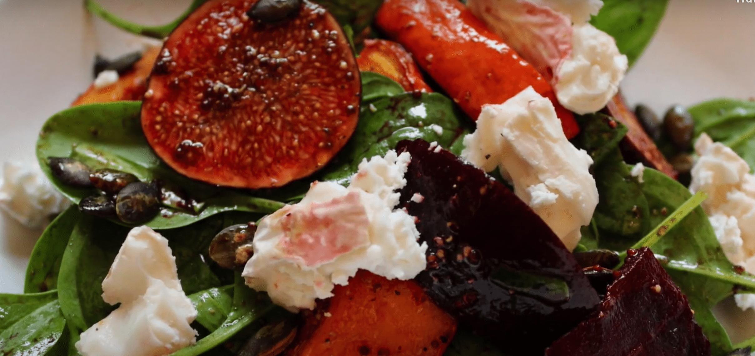 Salat Käse Ziege mit Öl Extra Virgin Rezept
